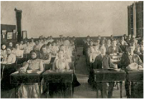 Old photograph of a University of Texas at Austin Classroom