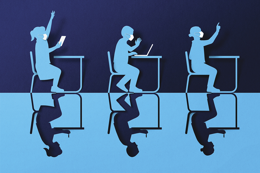 Illustration of students wearing masks while sitting at desks