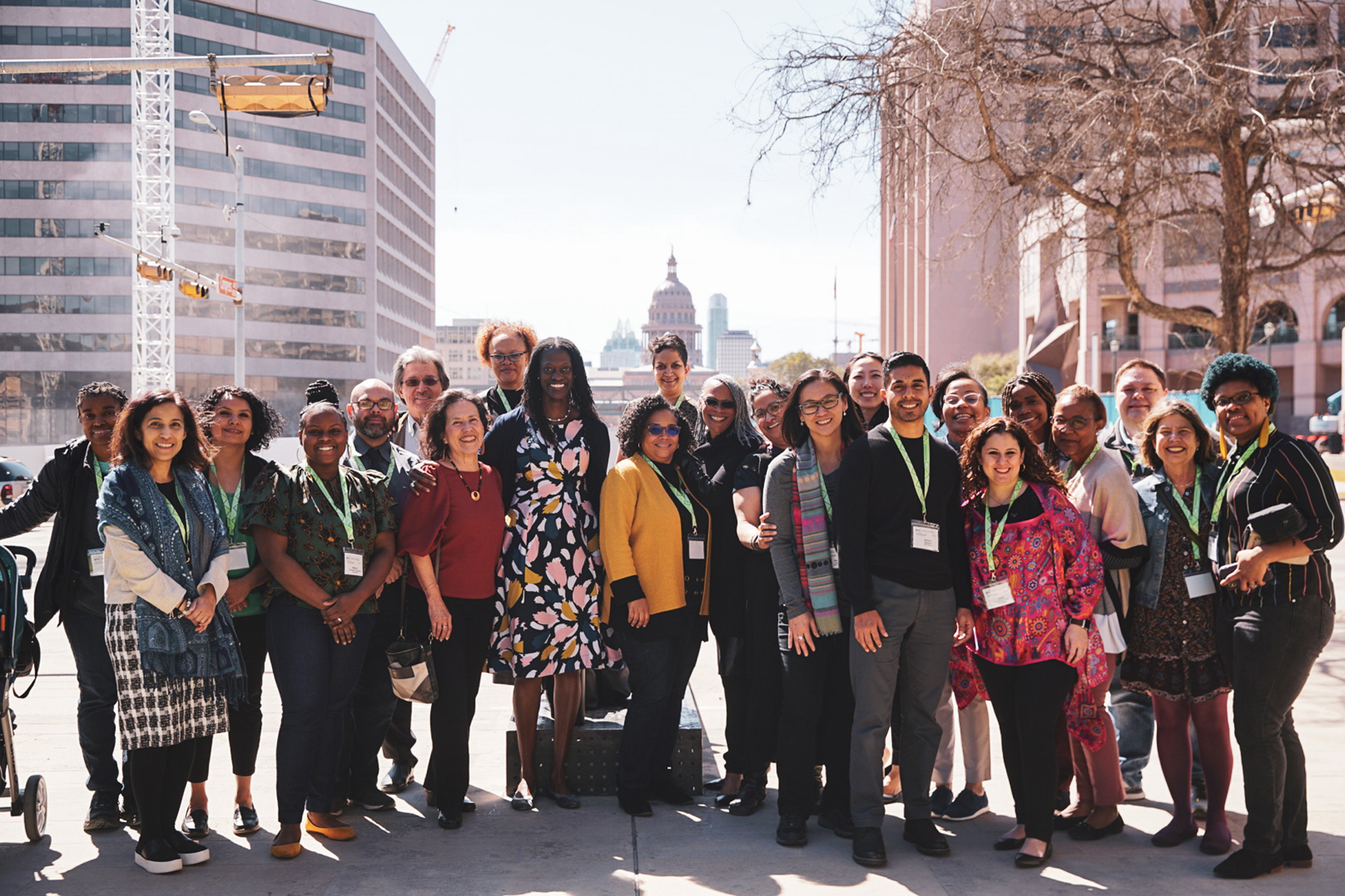 Participants of the 2020 CNV conference pose in front of the Texas Capitol