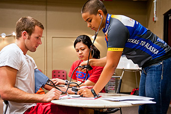 student with a stethoscope