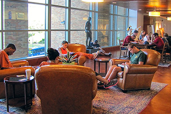 students study in a lounge