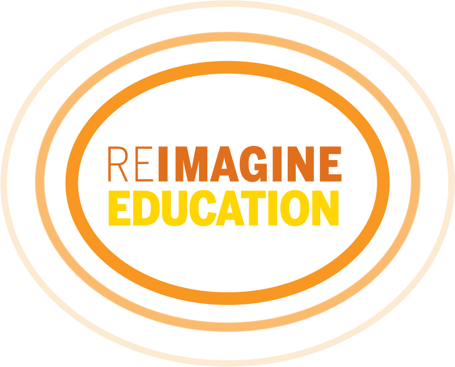 Reimagine Education logo with water ripples