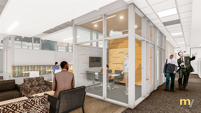 Architects rendering of a 5th floor huddle area in SZB