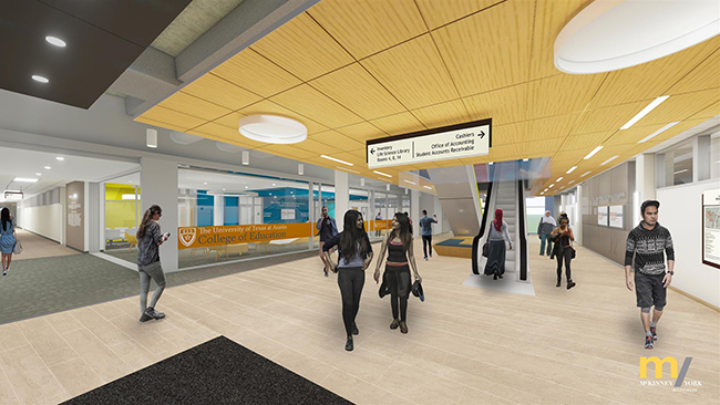 Architectural rendering of the new 2nd floor SZB lobby