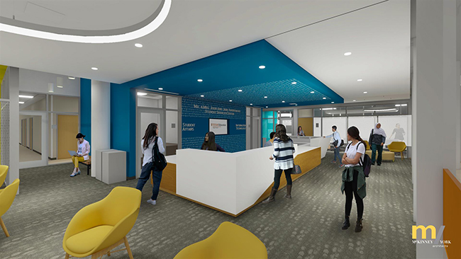 Architects rendering of the new student services space in the Sánchez building