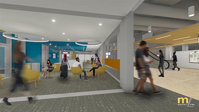Architects rendering of the SZB Student Success Center lobby from the west.