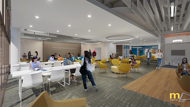 Architectural rendering of the new student lounge in SZB featuring open spaces, improved lighting.