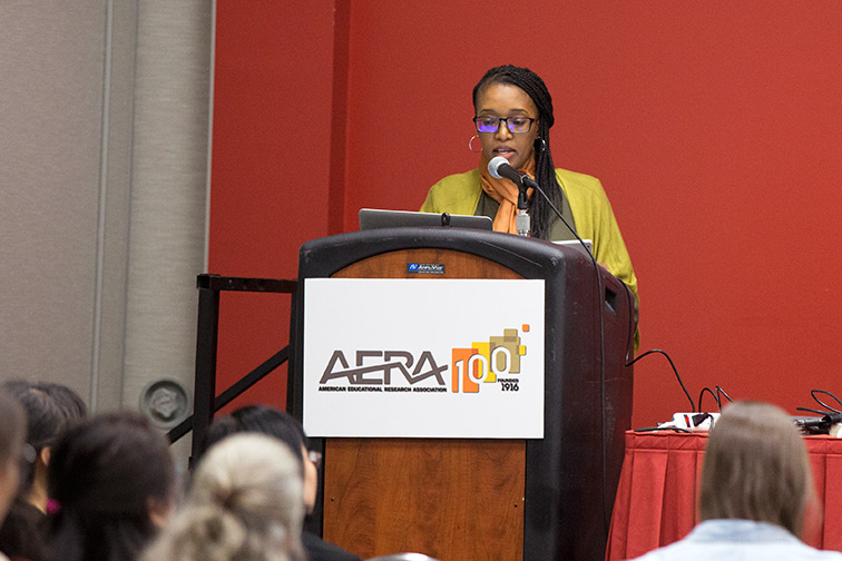 Assistant Professor Fikile Nxumalo speaking on Action in the Era of Global Warming: Changing Climate Change Education