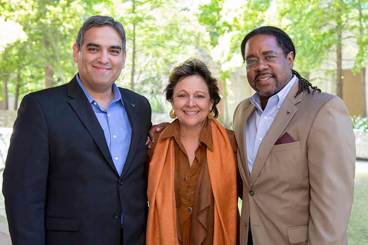 Victor Saenz, Angela Valenzuela, and Rich Reddick, faculty members in the Department of Educational Administration