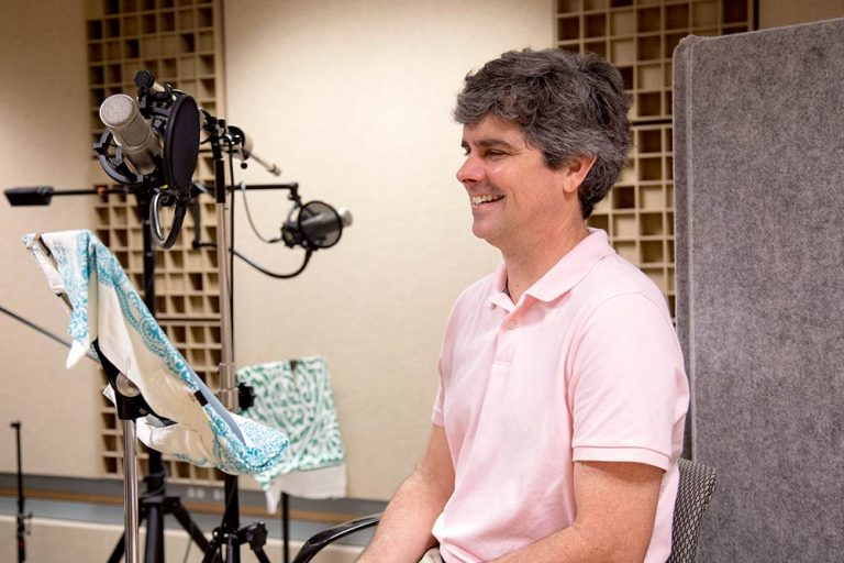 Christopher Brown during the recording session for Academic Minute.