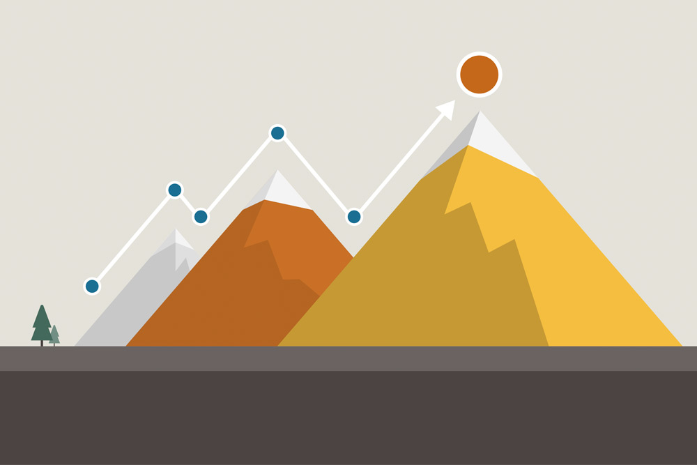 Graphic illustration of mountains with a data point line above