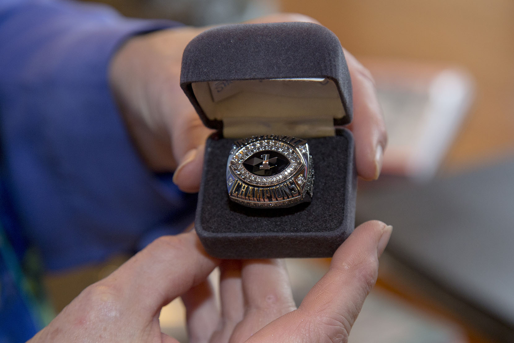 Closeup of Darrell Royal's Championship ring.