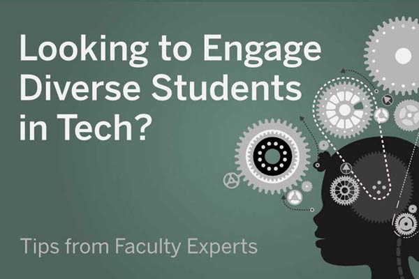 Illustration with the text, Looking to Engage Diverse Students in Tech?