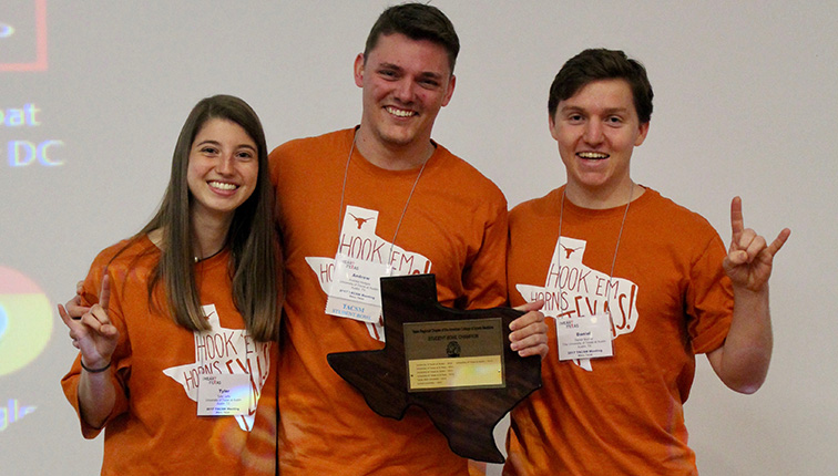 Photo of winning team, (left to right) Tyler Jaffe, Andrew Hedges, Daniel Murray