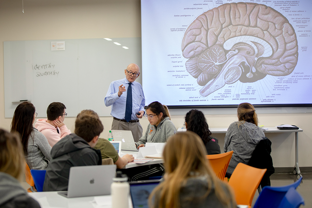 Steven Kornguth stands in front of a class of undergraduates at UT Austin