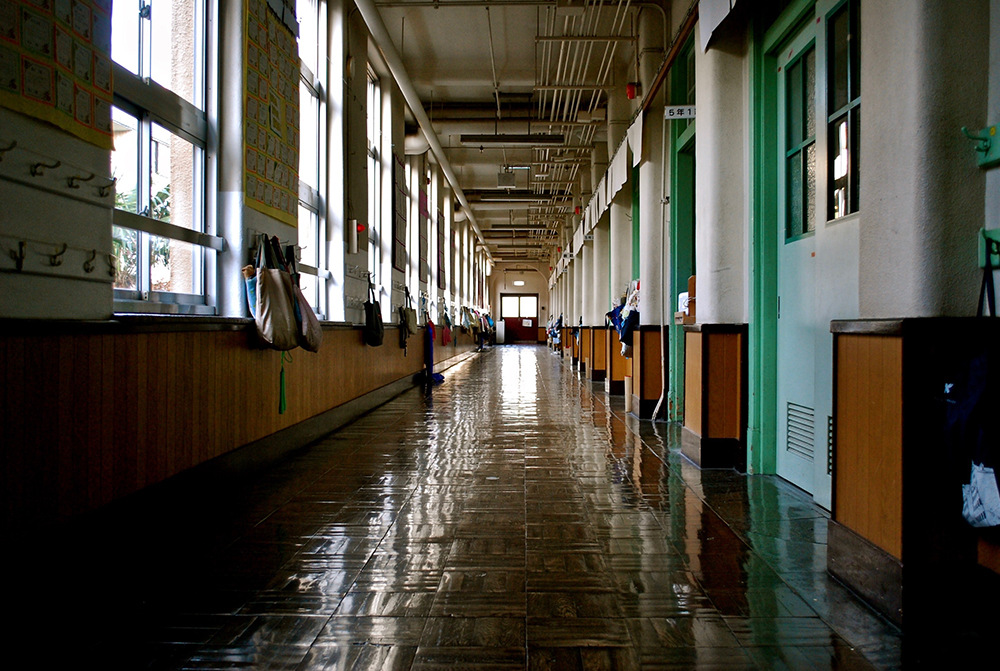 Photo of an empty school hallway