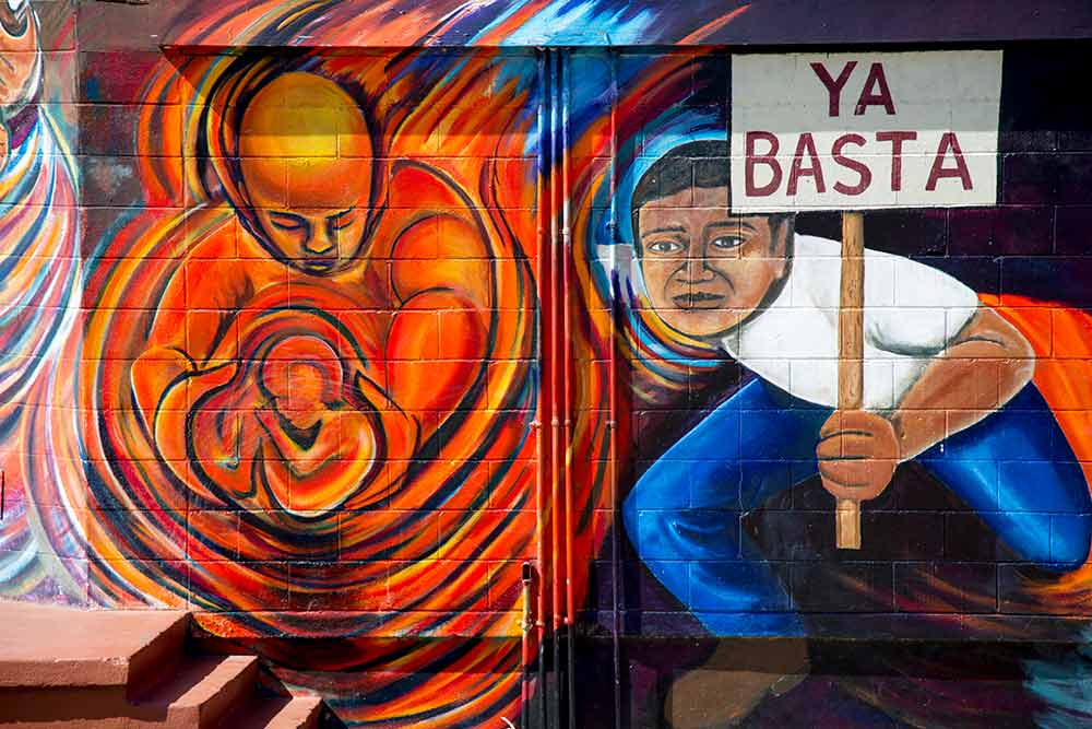 Mural depicting Mexican American rights