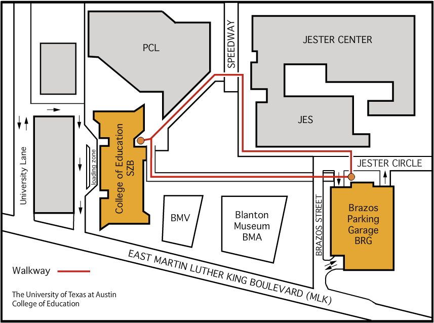 Line drawing depicting the location of the Sanchez Building and Brazos garage.
