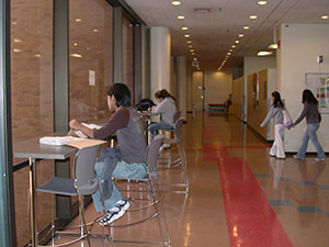 CafeTables: Sánchez Building, third floor. Tables are also on the fourth and fifth floors.