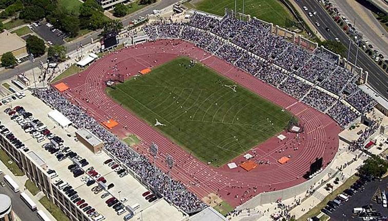 Arial photograph Mike Myers Stadium at UT Austin.