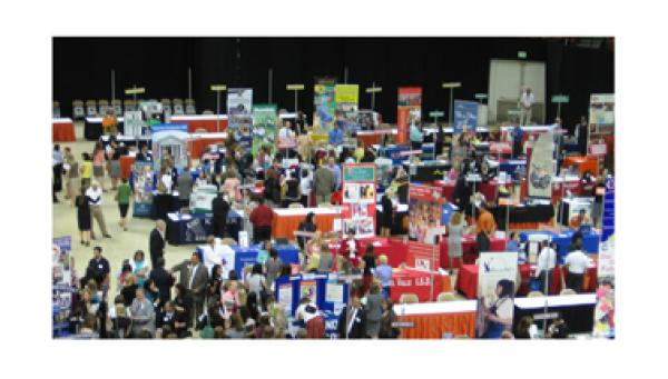 Photo of a large group of people at a career fair