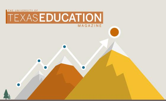 Data mountain with Texas Education magazine Logo