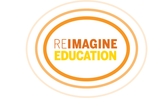 Logo saying Reimagine Education inside concentric ovals.