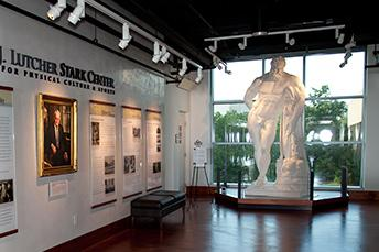 Photo of the Stark Lobby featuring a statue of Hercules
