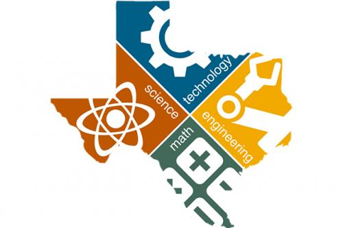 """STEM Center logo featuring """"Science, Technology, Engineering, Math"""" reversed ouf of the state of Texas"""