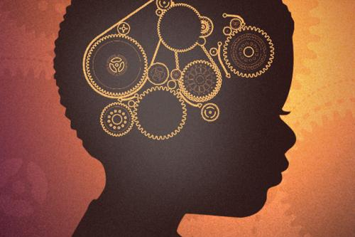 Silhouette of a young, black boy illustrated with interconnecting gears in the area of the brain