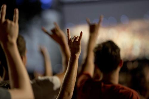 Students making hook em hand sign