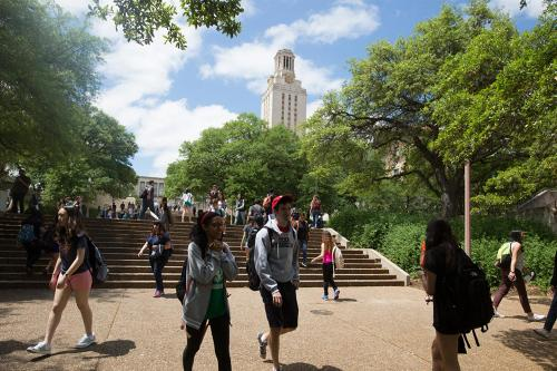 Students walk across campus during a break between classes.