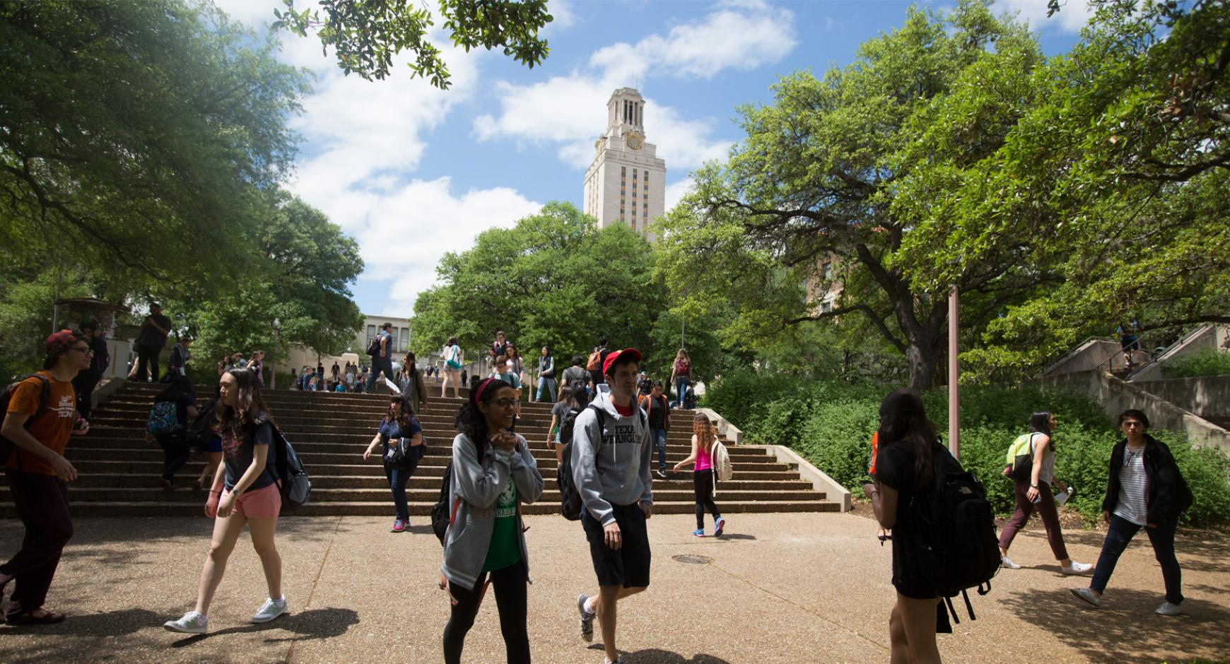 Photo of students in walking to class