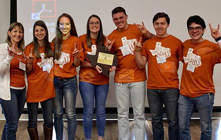Jeopardy Team (left to right) Dr. Michelle Harrison, Tyler Jaffe, Kelsy Osterman, Abigail Schacherl, Andrew Hedges, Daniel Murray and Cristobal Saenz