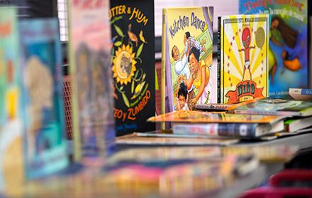 Photo of a display of colorful children's books
