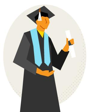Illustration of a student in a graduation cap and gown