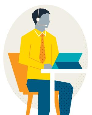 Illustration of a man at a laptop