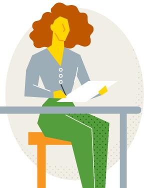 Illustration of a new teacher at their desk