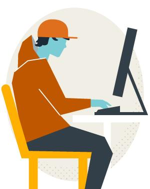 Illustration of a student at a laptop