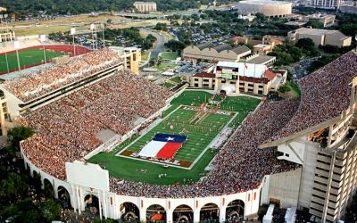 Photo of DKR Memorial Stadium before a football game.