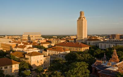 Arial photo of the UT Austin campus featuring the Tower