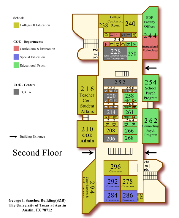 College Of Education: Map To Sánchez Building & Brazos Garage