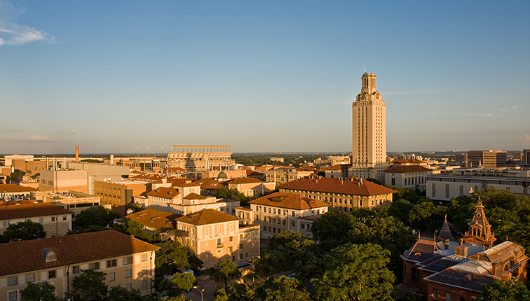 Panoramic aerial photo of the University of Texas at Austin